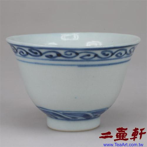 民國初年青花手繪藍邊杯大明成化款,古董杯,老茶杯,青花杯老杯