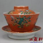 大清同治彩珊瑚紅釉上彩四寶三件式蓋碗,古董蓋杯,古董蓋碗