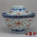 清末民國初年描金青花玲瓏蓋碗 康熙年製,古董蓋杯,古董蓋碗