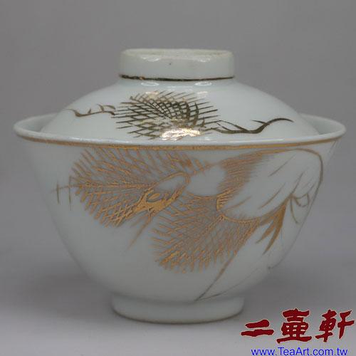 清末民國初年描金鶴蓋碗,古董蓋杯,古董蓋碗