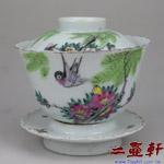 清末民國初年粉彩花鳥蓋碗,古董蓋杯,古董蓋碗
